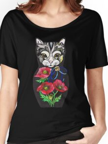 Poppy, tattoo style Cat Russian doll  Women's Relaxed Fit T-Shirt