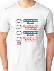 """Headlights Go Up/Down"" Miata MX-5 Unisex T-Shirt"