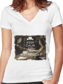 KEEP CALM AND SHIP WAYHAUGHT Women's Fitted V-Neck T-Shirt