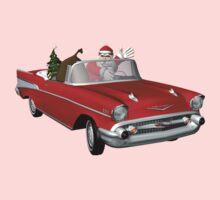 Santa In Red 57 Chevy Kids Tee
