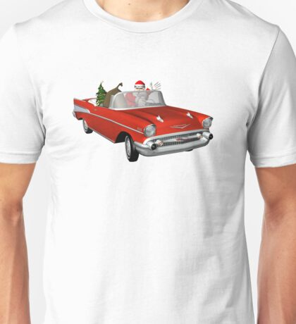 Santa In Red 57 Chevy Unisex T-Shirt