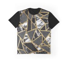 Modern Faux Gold Glitter Marble Geometric Triangle Graphic T-Shirt