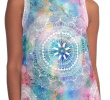 Indian white pattern on a watercolor background Contrast Tank