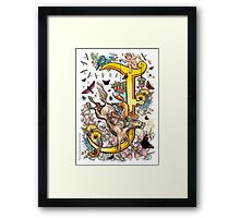 """The Illustrated Alphabet Capital  J  """"Getting personal"""" Framed Print"""