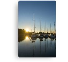 Rainbow Sunrays - Summer Sunrise With Yachts Canvas Print