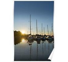 Rainbow Sunrays - Summer Sunrise With Yachts Poster