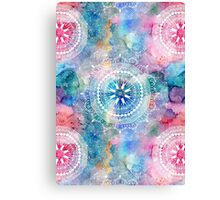 Indian white pattern on a watercolor background Canvas Print