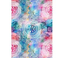 Indian white pattern on a watercolor background Photographic Print