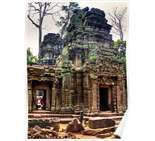 Ancient Ruins at Ta Prohm Temple, Cambodia Poster
