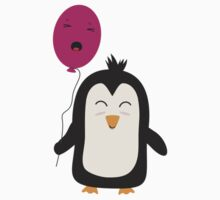Penguin with balloon   One Piece - Short Sleeve