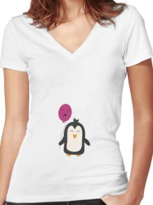Penguin with balloon   Women's Fitted V-Neck T-Shirt