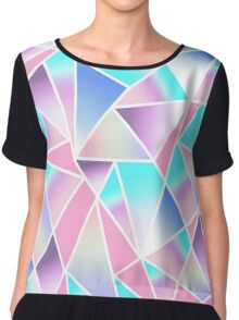 Girly Gradient Geometric Triangles in Pink Teal Chiffon Top
