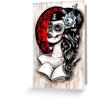 Day of the dead pinup tattoo Greeting Card