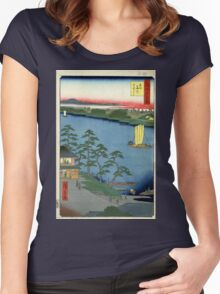 Niishuku Ferry - Ando Hiroshige - 1857 - woodcut Women's Fitted Scoop T-Shirt