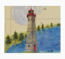 Gibraltar Pt Lighthouse Ontario Map Art Cathy Peek One Piece - Short Sleeve