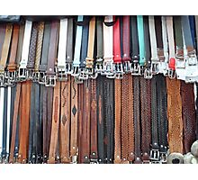 Leather Belts Hanging on Street Market Stall Photographic Print