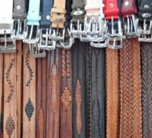 Leather Belts Hanging on Street Market Stall Sticker