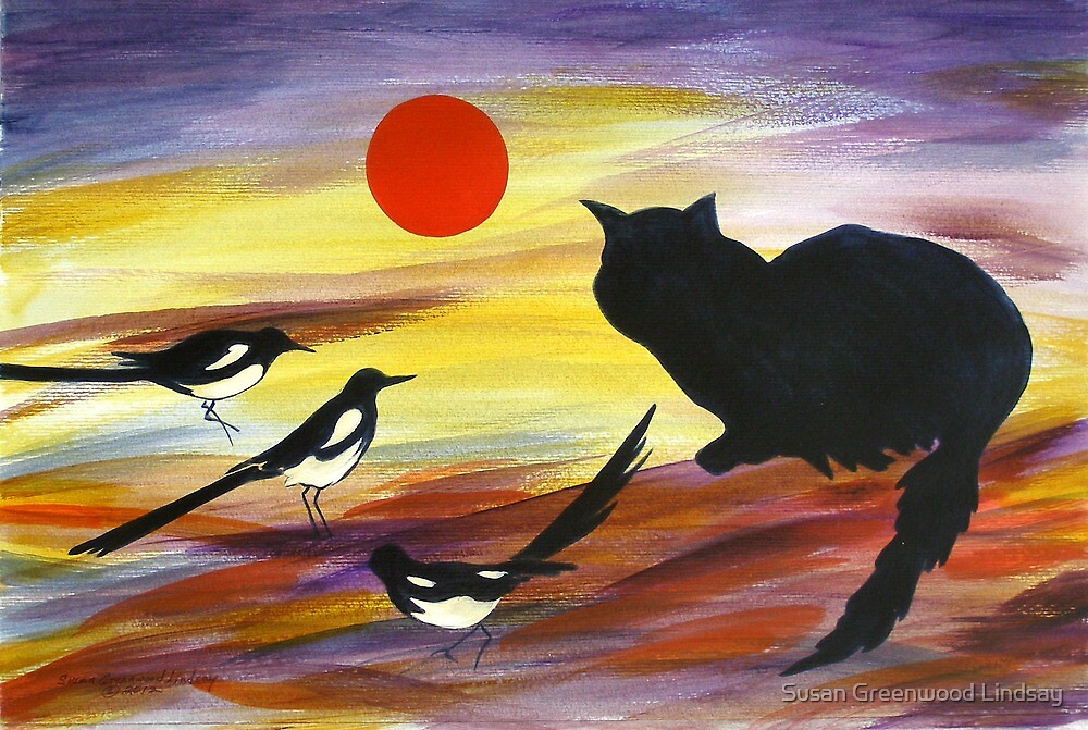 The Magpies tell Meow of Red by Susan Greenwood Lindsay