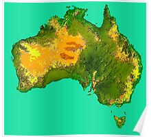 Australia Physical Map Poster