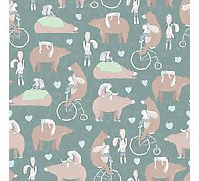 Fun Forest Creatures Pattern- Bear & Bunny Best Friends Photographic Print