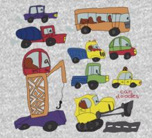 Child's hand draw cars.Funny colored cartoon Doodle Kids Clothes