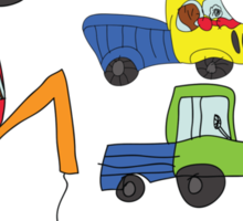 Child's hand draw cars.Funny colored cartoon Doodle Sticker
