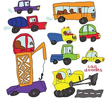 Child's hand draw cars.Funny colored cartoon Doodle by Tatiakost