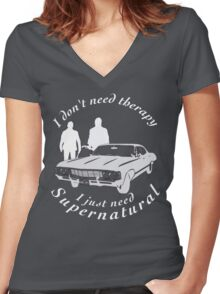supernatural sam and dean, baby Women's Fitted V-Neck T-Shirt