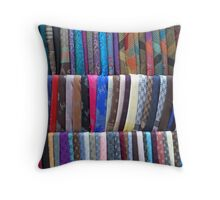 Rows Stripes of Hanging Colourful Pashmina Scarves  Throw Pillow