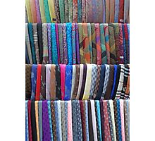 Rows Stripes of Hanging Colourful Pashmina Scarves  Photographic Print