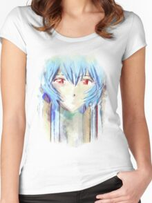 Ayanami Rei Evangelion Anime Tra Digital Painting  Women's Fitted Scoop T-Shirt