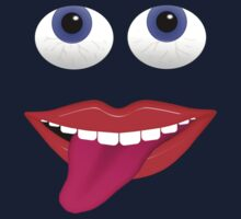 Smiling Mouth With Tongue Out and Blue Eyes Kids Tee