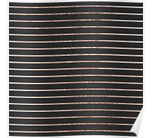 Elegant Chic Rose Gold Stripes and Black Poster
