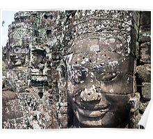 Stone Faces at Bayon Poster