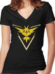 Pokemon Go | Team Instinct | Black Background | HUGE | New! | High Quality! Women's Fitted V-Neck T-Shirt