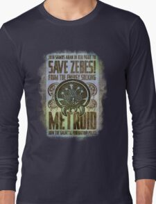 Metroid Propaganda Geek Line Artly  Long Sleeve T-Shirt