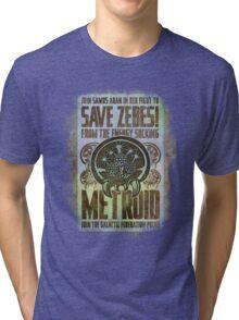 Metroid Propaganda Geek Line Artly  Tri-blend T-Shirt