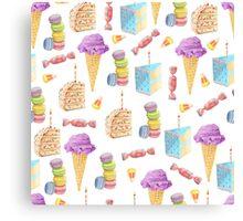 Junk Food Dessert Pattern Canvas Print
