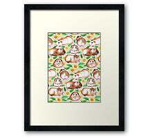 Guinea Pigs and Daisies in Watercolor Framed Print