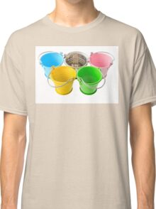 Five colorful buckets, arranged as a symbol of Olympic Games, isolated on white background Classic T-Shirt
