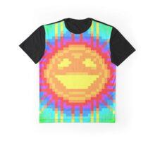 8bit Tie Dye Smiley Rainbow Sun Graphic T-Shirt