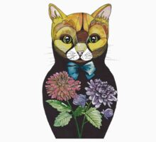 Dahlia, Tattoo style Russian doll cat One Piece - Long Sleeve