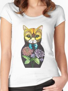 Dahlia, Tattoo style Russian doll cat Women's Fitted Scoop T-Shirt