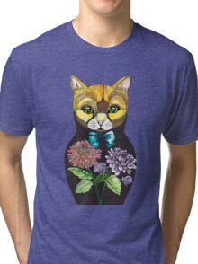 Dahlia, Tattoo style Russian doll cat Tri-blend T-Shirt