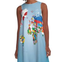 Traveler World Map Flags  A-Line Dress