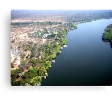 Aerial upstream from Victoria Falls, Africa Canvas Print