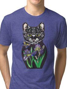 Iris, tattoo style cat head russian doll Tri-blend T-Shirt