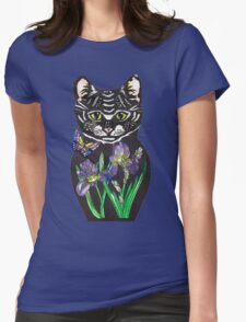 Iris, tattoo style cat head russian doll Womens Fitted T-Shirt