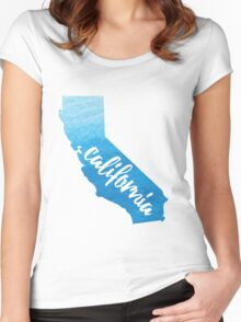 California - blue watercolor  Women's Fitted Scoop T-Shirt