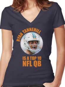 Ryan Tannehill is a Top 10 QB Women's Fitted V-Neck T-Shirt